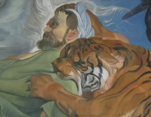 Copie d'après la chasse au tigre de Rubens, huile sur toile marouflée