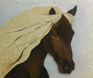 cheval frison sur toile peinture huile collage papier journal par peintre atelier severine peugniez mimi vermicelle