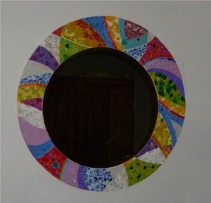 Miroir Philippe, Pâte de verre, faïence, smalt, verre coloré et marbre blanc