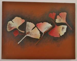 création thème feuille de gingko biloba sur toile peinture acrylique par l'artiste severine peugniez