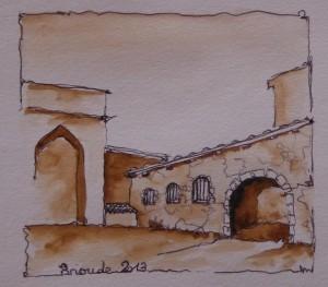 Basilique de Brioude, croquis aquarellé