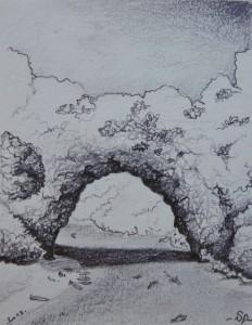 Vallon pont d'arc, croquis au crayon graphite