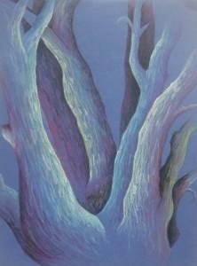 Arbres aux crayons de couleur, d'après une peinture de Georgia O Keefe
