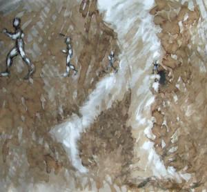 Homme qui marche, brou de noix et gouache blanche sur papier