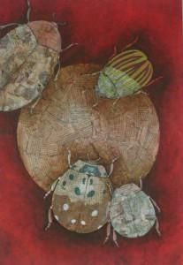 insectes huile sur toile coccinelle coleoptere collage papier journal techniques mixtes par artiste severine peugniez savenay