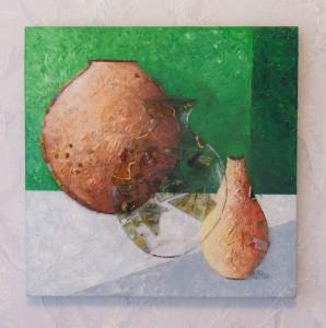 Vase et pots, acrylique et verre coloré sur toile