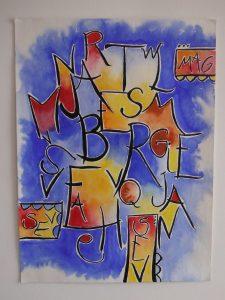 aquarelle style moderne et contemporain lettres noir fond très coloré bleu jaune rouge sur papier arche par severine peugniez