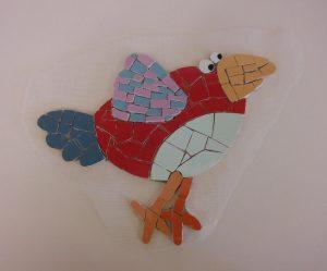 création oiseau mosaïque décor mural sur filet à coller soi même en extérieur vente par correspondance
