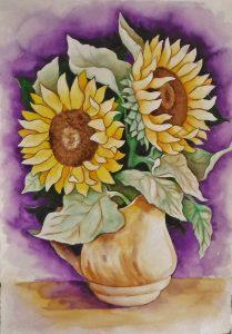 vase fleur tournesol aquarelle nature morte style figuratif classique sur papier arche par artiste severine peugniez