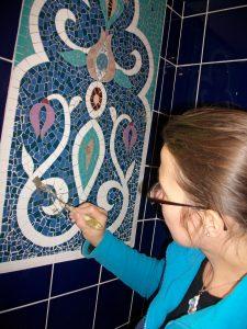 motifs floraux en mosaique