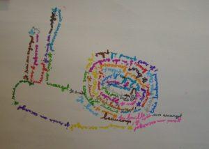 calligramme atelier enfant mimi vermicelle dessin peinture savenay loire atlantique
