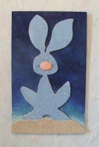 lapin mosaique création sur commande cadeau naissance bebe par mimi vermicelle atelier art savenay